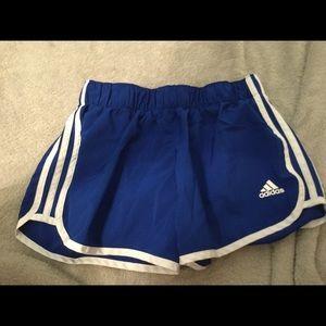 ADIDAS blue athletic shorts with three stripes